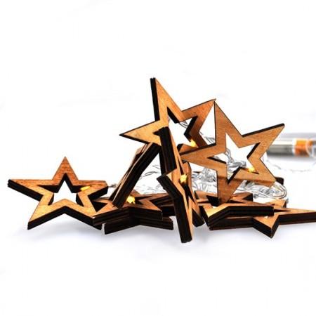 Vánoční řetěz dřevěné hvězdy