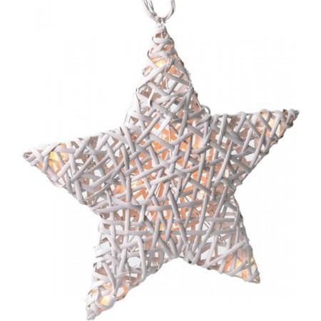 Ratanová vánoční hvězda, 10x LED, automatické/ruční zapnutí, 2x AA baterie, bílá