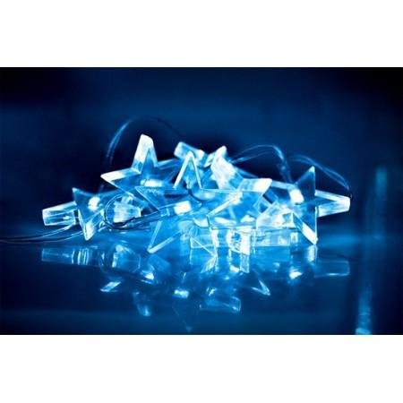 LED vánoční řetěz, hvězdy, 1,5m, 10x LED, 2x AA, modré světlo