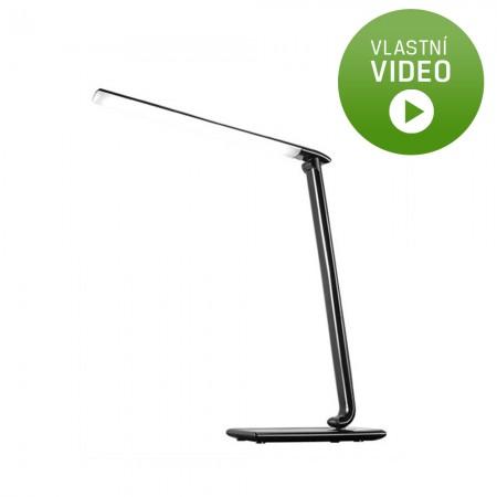 LED stolní lampička stmívatelná USB, 12W, volba teploty světla, černý lesk